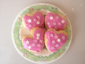 Valentines heart biscuits presented on plate