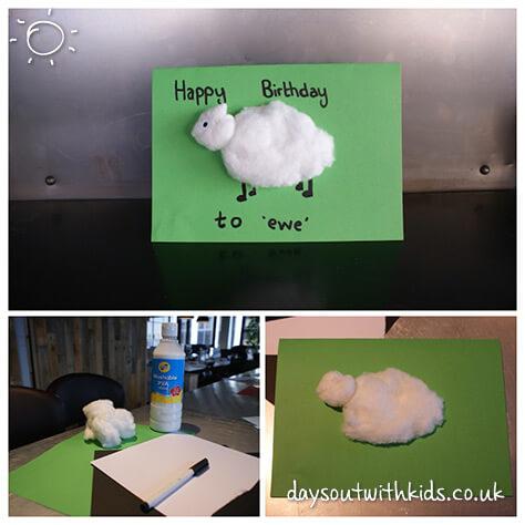 Sheep birthday card on #daysoutwithkids