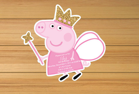 Personalised Sparkly Peppa Pig Invitations Invitation 2