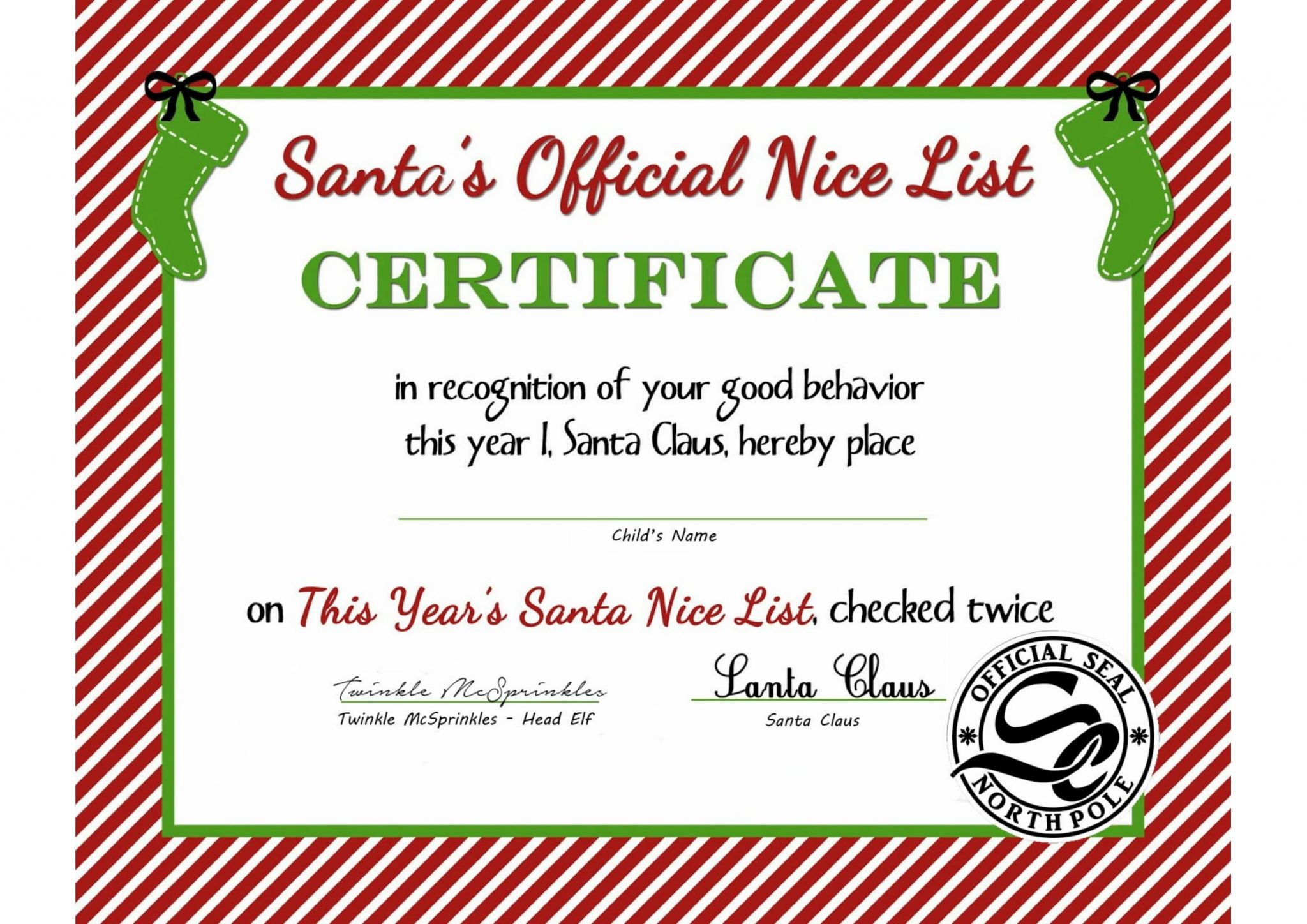Adorable christmas eve traditions picniq blog nice list certificate xflitez Gallery