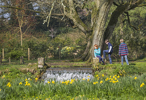 Children playing in the garden in springtime at Mottisfont, Hampshire. Mottisfont is an 18th century house surrounded by a garden paradise.