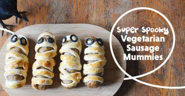 Spooky Vegetarian Sausage Roll Mummies