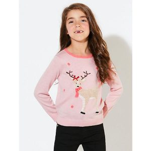 John Lewis Girls Reindeer Christmas Jumper